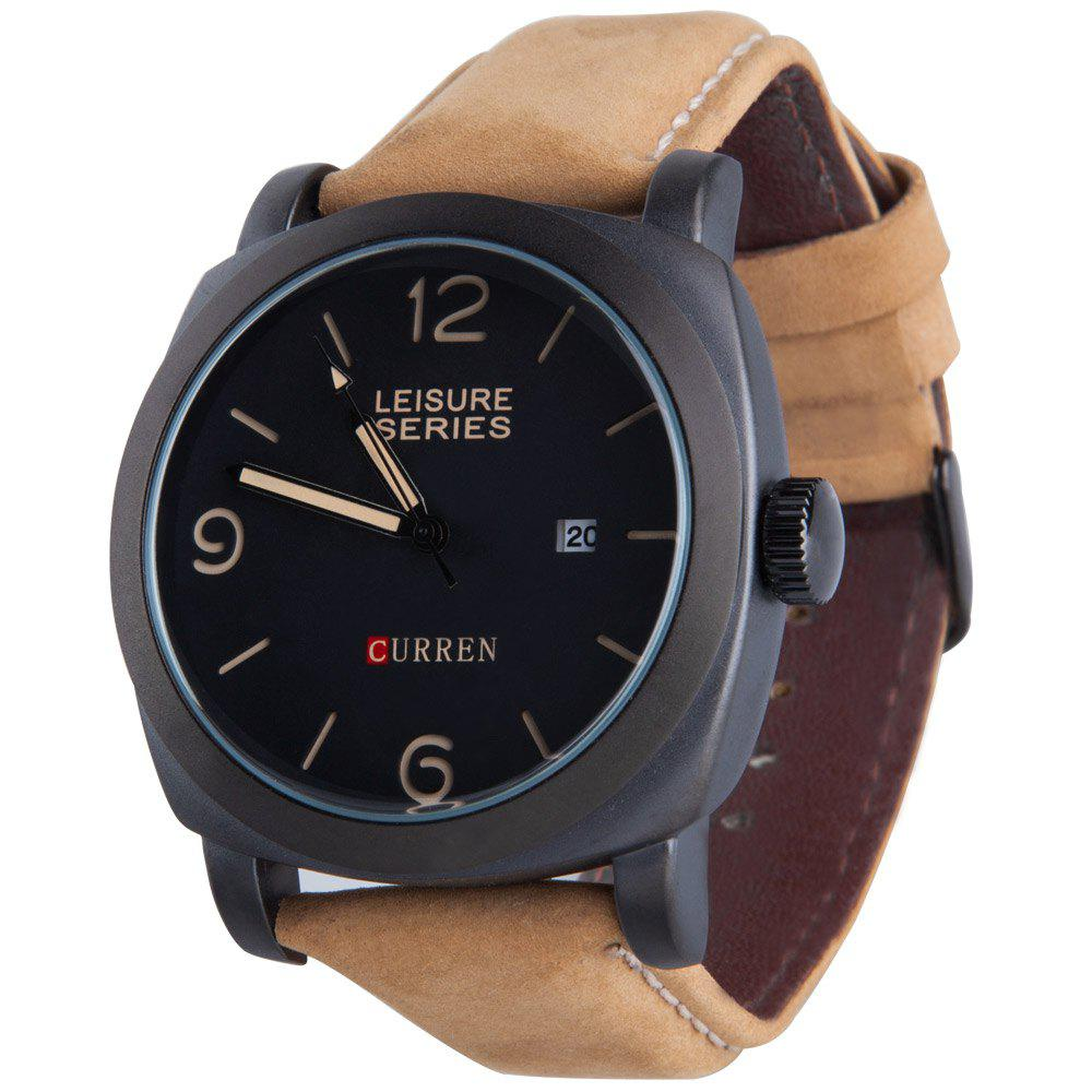 CURREN 8158 Men Quartz Watch Nubuck-leather Strap Wristwatch with Date Display - BLACK
