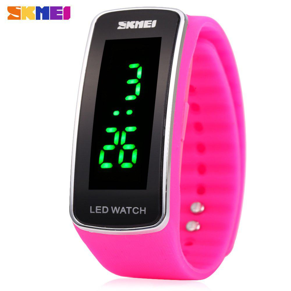 Skmei 1119 LED Light Sports Watch Silicone Strap Unisex Wristwatch Water Resistance - ROSE MADDER