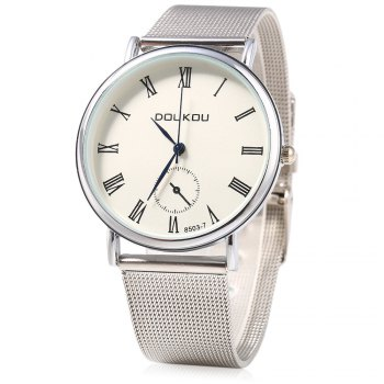 DOUKOU 8503-7 Steel Net Band Decorative Sub-dial Quartz Unisex Watch - SILVER SILVER