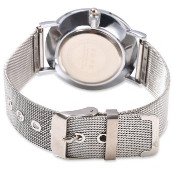 DOUKOU 8503-7 Steel Net Band Decorative Sub-dial Quartz Unisex Watch -  SILVER