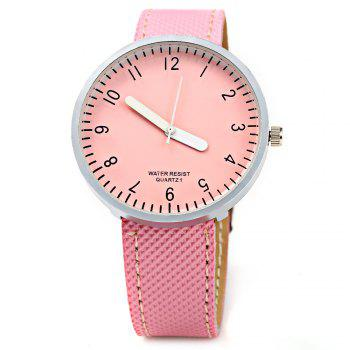 Simple Colorful Quartz Leather Band Female Watch -  PINK