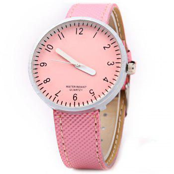 Simple Colorful Quartz Leather Band Female Watch - PINK PINK