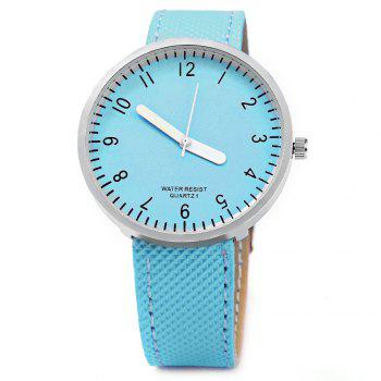 Simple Colorful Quartz Leather Band Female Watch -  BLUE