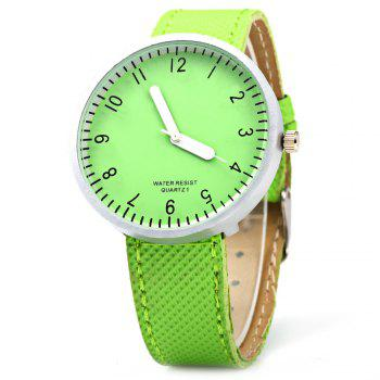 Simple Colorful Quartz Leather Band Female Watch - GREEN GREEN