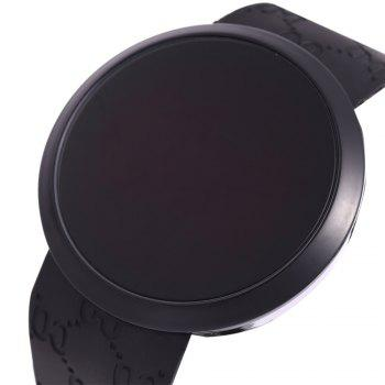 LED Watch Touch Screen Round Dial Rubber Strap for Men -  BLACK