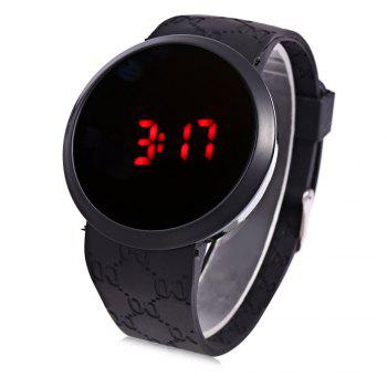 LED Watch Touch Screen Round Dial Rubber Strap for Men - BLACK BLACK