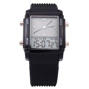 LED Sports Watch Double Movt Multi-function Wristwatch -  BLACK