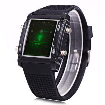 LED Sports Watch Double Movt Multi-function Wristwatch - BLACK BLACK