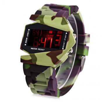Multifunctional LED Sports Watch Airplane Shape Dial Rubber Band