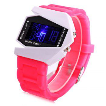 Alarm Day Date Display Stopwatch LED Sports Airplane Shape Dial Watch - PINK PINK