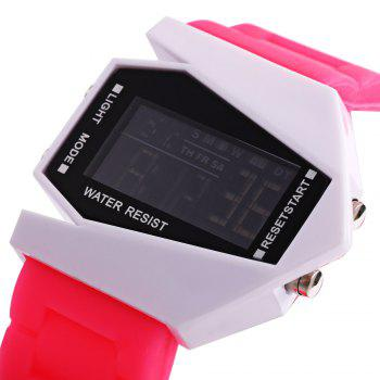 Alarm Day Date Display Stopwatch LED Sports Airplane Shape Dial Watch -  PINK