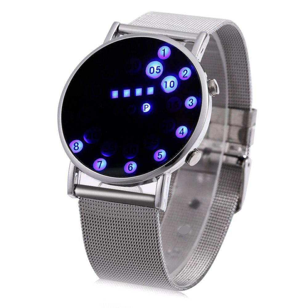 Date Day Display Round Dial Steel Net Strap LED Watch - SILVER