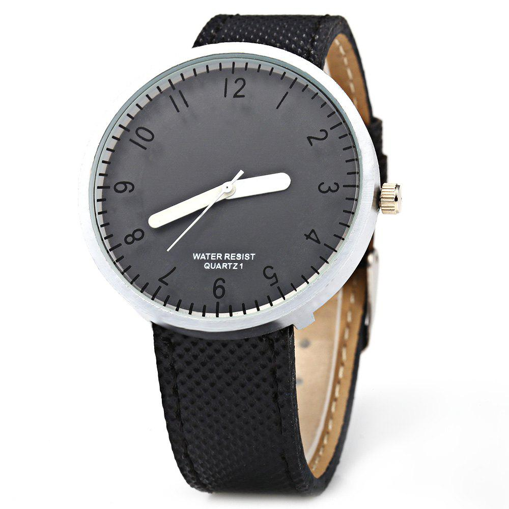 Simple Colorful Quartz Leather Band Female Watch - BLACK