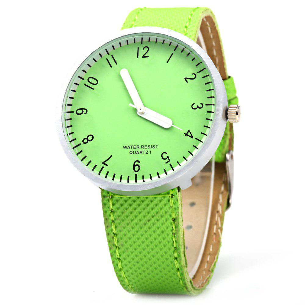 Simple Colorful Quartz Leather Band Female Watch - GREEN