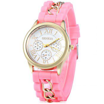 Fashional Women's Quartz Watch Silicone and Chain Wristwatch