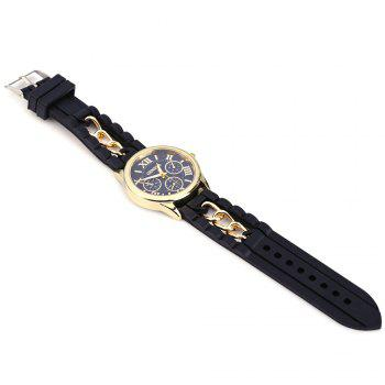 Fashional Women's Quartz Watch Silicone and Chain Wristwatch - BLACK