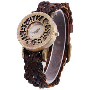 Fashional Quartz Watch Hollow Dial Retro Women Wristwatch Textile Band