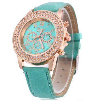 Women Watch with Artificial Diamond Dial Decorative Sub-dials Quartz Wristwatch