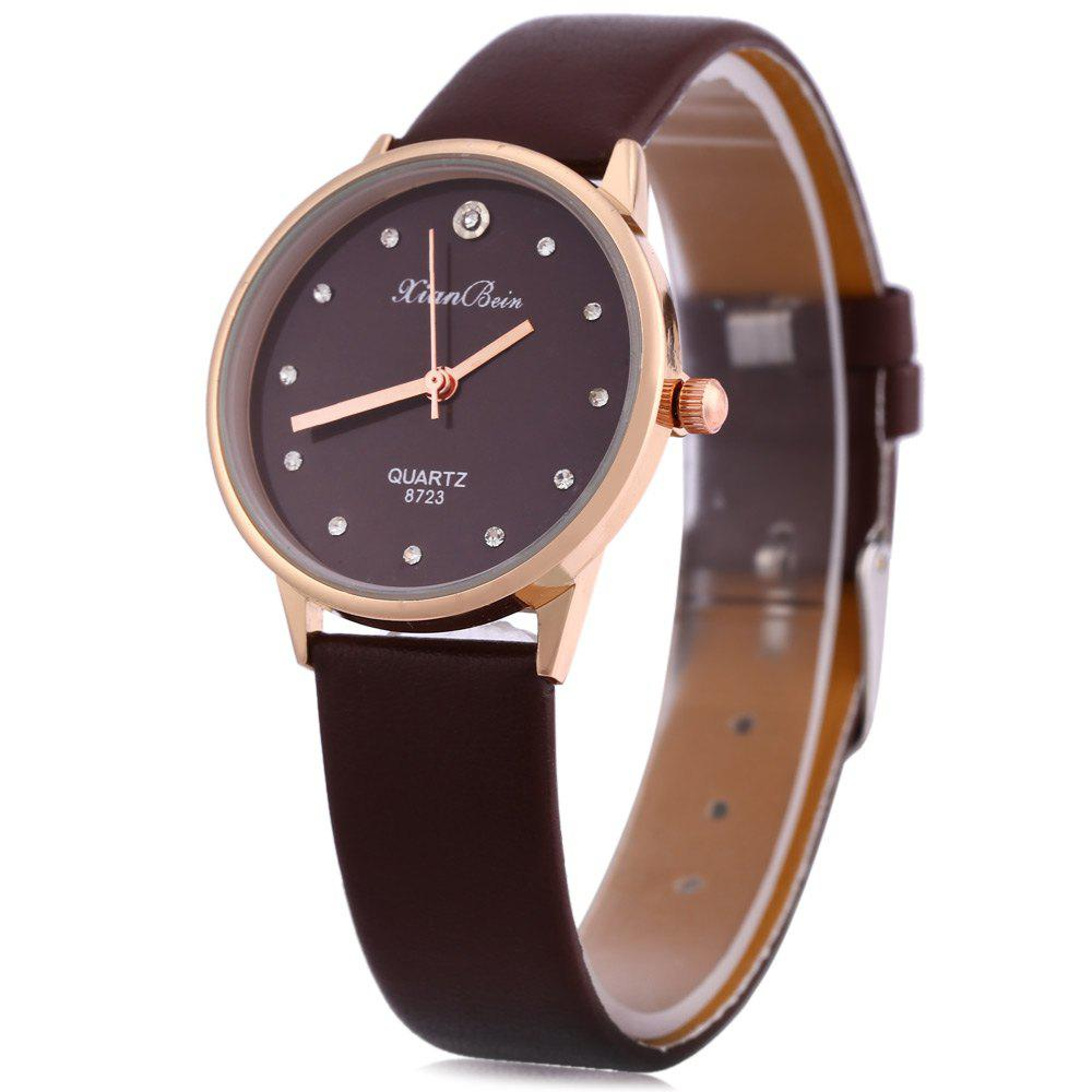 Fashion Women Watch Inbuilt Artificial Diamond Leather Strap Quartz Wristwatch - COFFEE