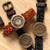 Fashional Quartz Watch Hollow Dial Retro Women Wristwatch Textile Band - COFFEE (TPU BAND)