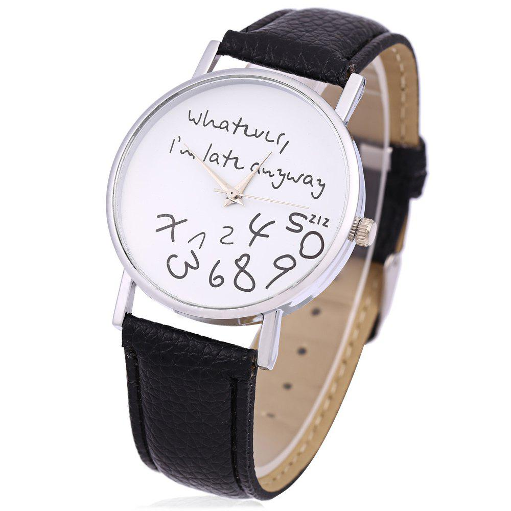 Leather Men Women Watches Fresh New Style Woman Wristwatch - BLACK