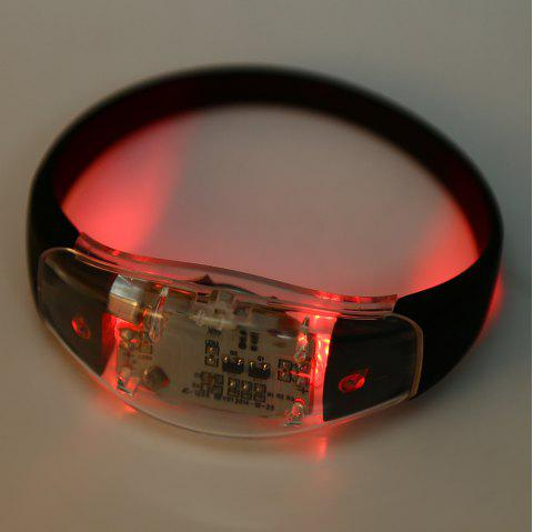 Multi-function Voice Control LED Light Wristband for Night Cycling - RED
