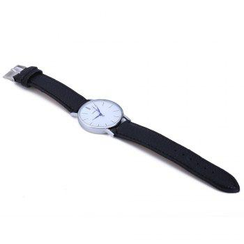Geneva Women Men Blue Pin Leather Belt Quartz Watch with Contrast Color - COFFEE