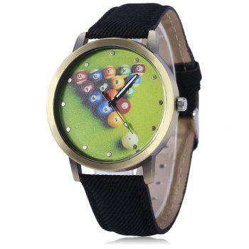Men Women Leisure Snooker Billiard Analog Canvas Round Quartz Wrist Watch