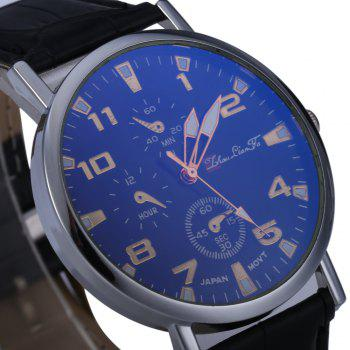 Blu-ray Glass Women Men Quartz Watch with Embossed Leather Band Decorative Sub-dial - BLACK