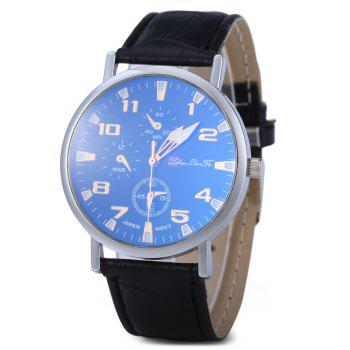 Blu-ray Glass Women Men Quartz Watch with Embossed Leather Band Decorative Sub-dial - BLACK BLACK