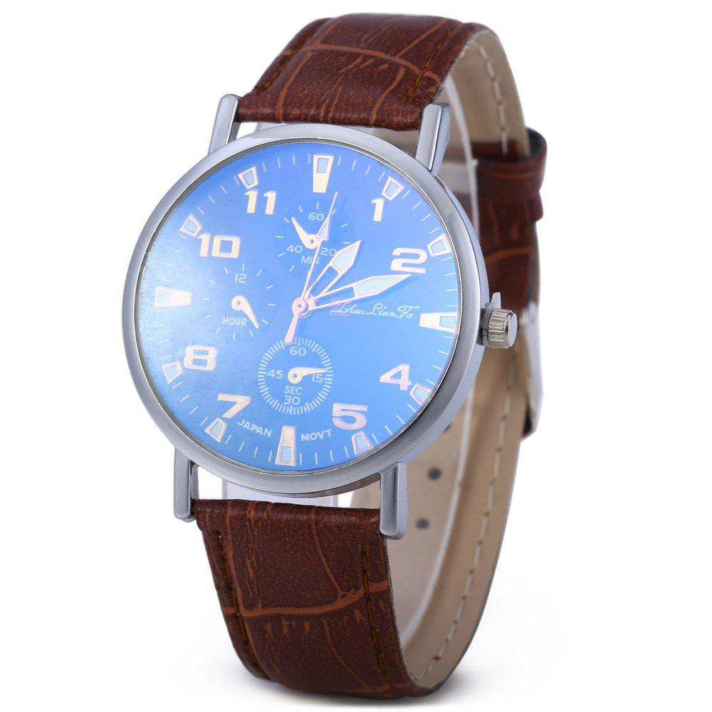 Blu-ray Glass Women Men Quartz Watch with Embossed Leather Band Decorative Sub-dial - COFFEE