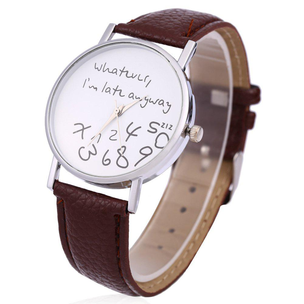 Leather Men Women Watches Fresh New Style Woman Wristwatch - DEEP BROWN
