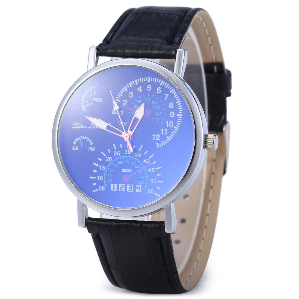 Men Women Fashion Korean Version Business Blu-ray Wrist Watch - BLACK