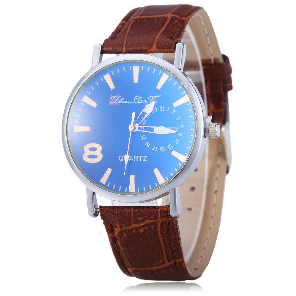 Blu-ray Glass Men Women Leather Band Wrist Watch - COFFEE