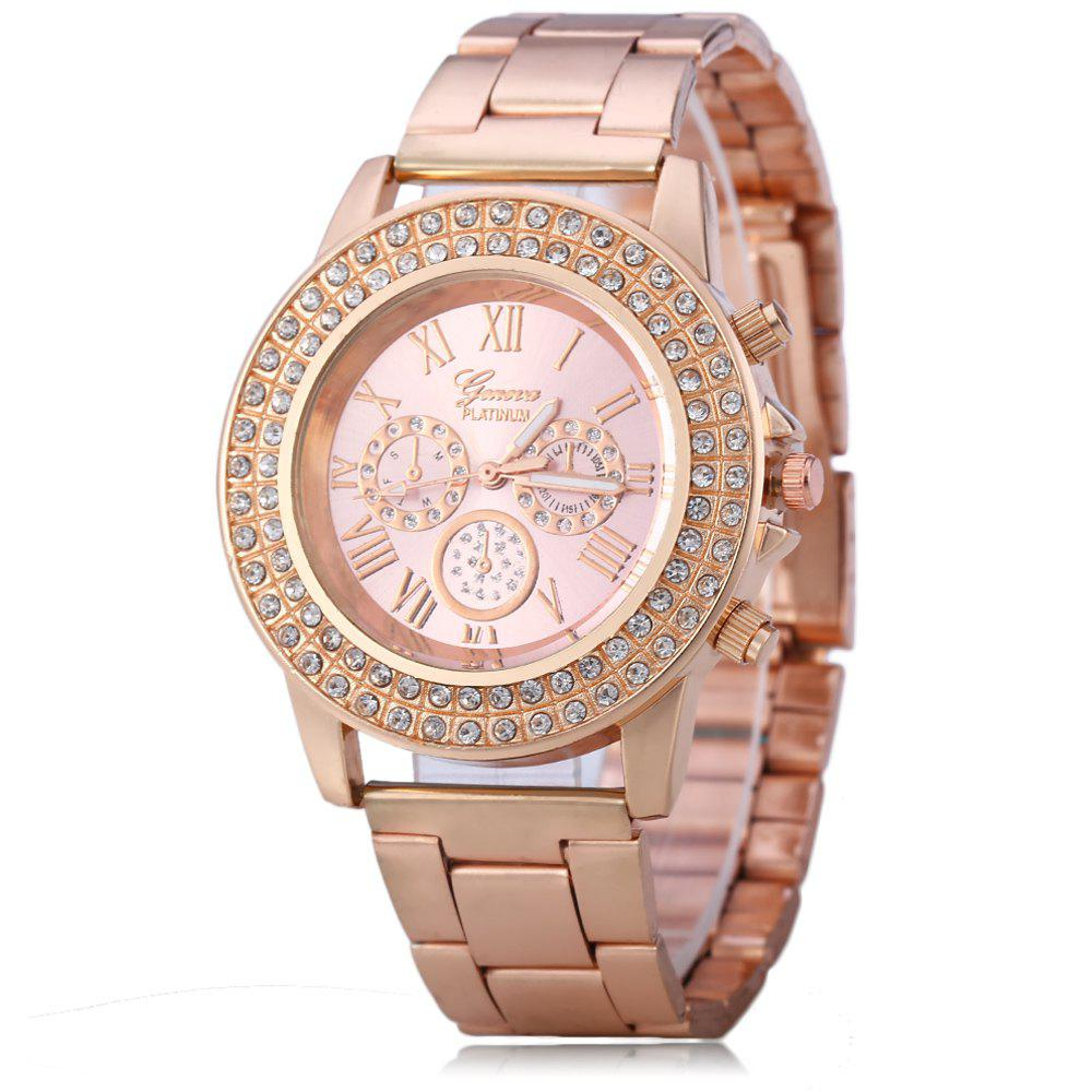 Shell Dial Steel Tassels Female Quartz Watch with Diamond-shaped Mirror Stainless Steel Strap - PINK