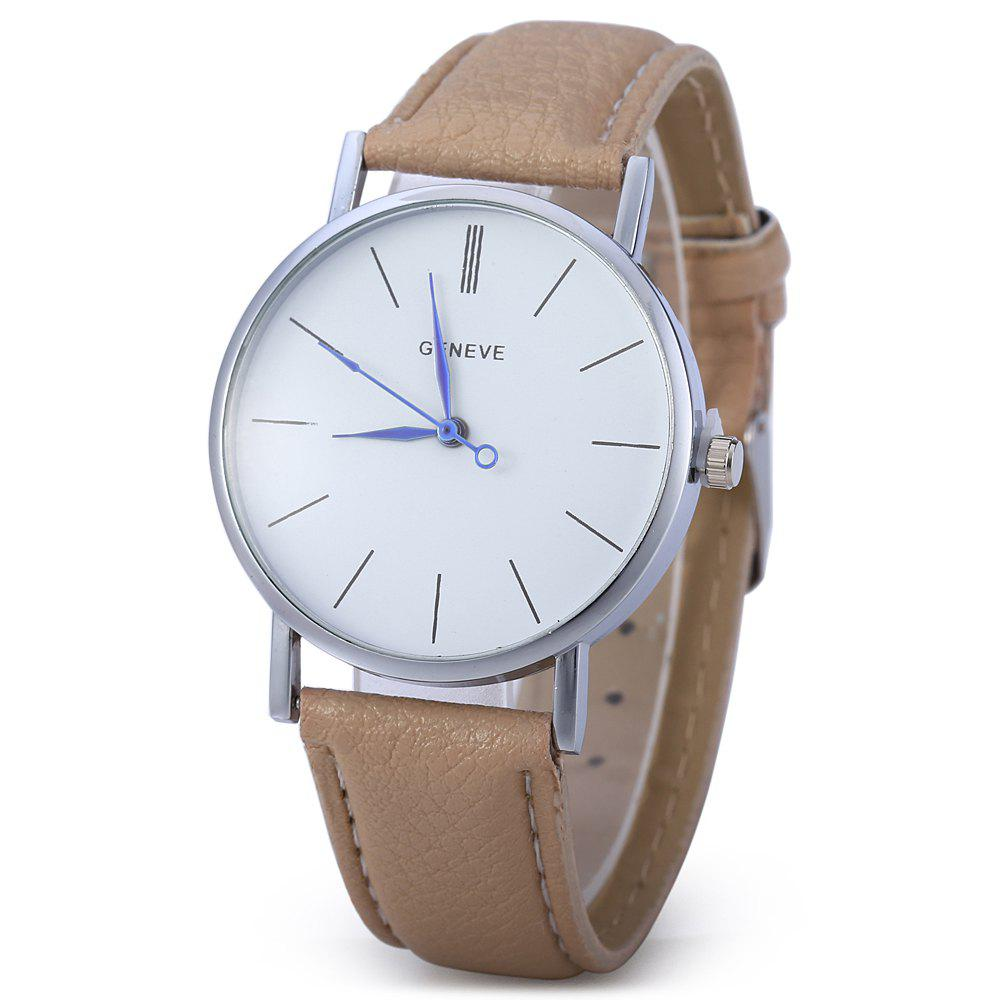 Geneva Women Men Blue Pin Leather Belt Quartz Watch with Contrast Color Decorative Sub-dial - LIGHT APRICOT
