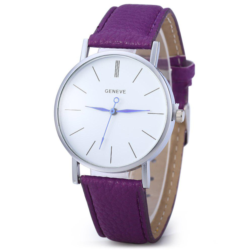 Geneva Women Men Blue Pin Leather Belt Quartz Watch with Contrast Color - PURPLE