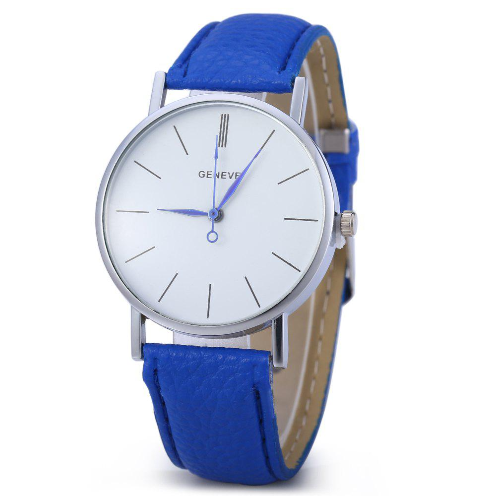 Geneva Women Men Blue Pin Leather Belt Quartz Watch with Contrast Color Decorative Sub-dial - SAPPHIRE BLUE