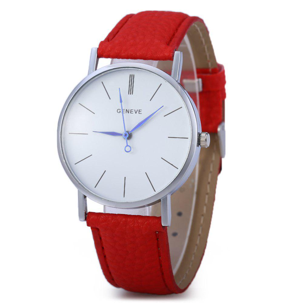 Geneva Women Men Blue Pin Leather Belt Quartz Watch with Contrast Color Decorative Sub-dial - RED