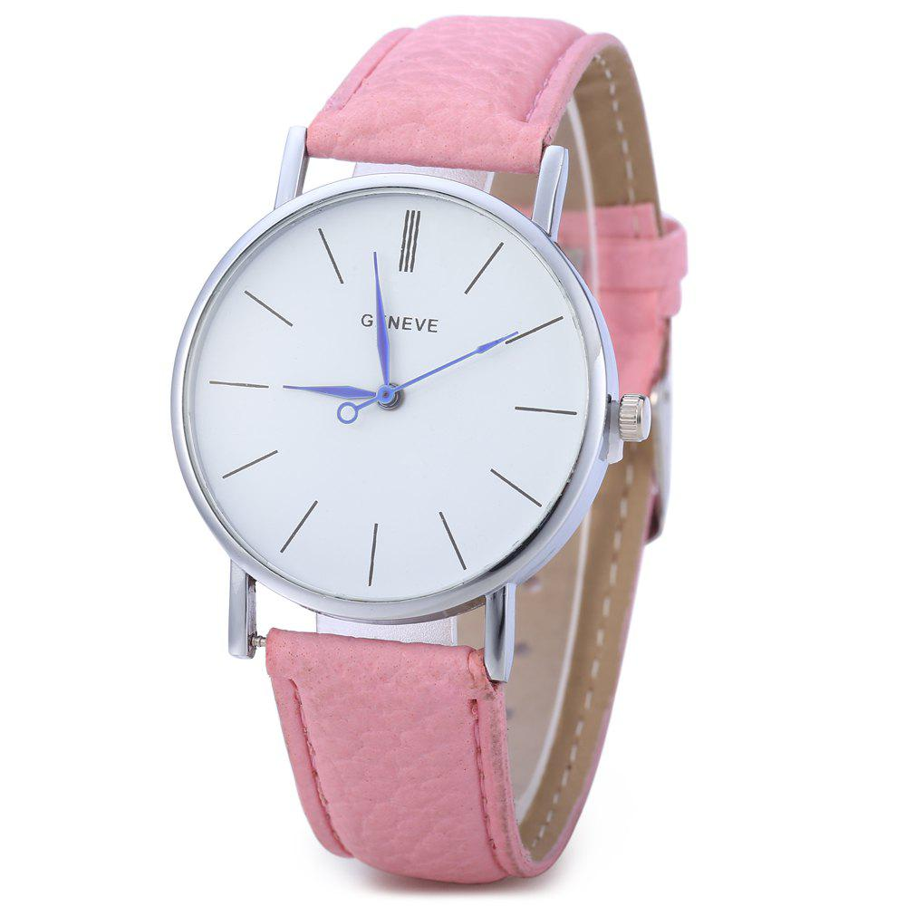 Geneva Women Men Blue Pin Leather Belt Quartz Watch with Contrast Color Decorative Sub-dial - PINK