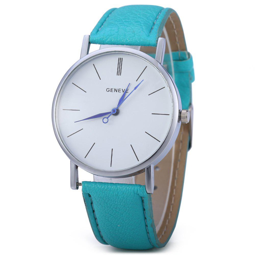 Geneva Women Men Blue Pin Leather Belt Quartz Watch with Contrast Color Decorative Sub-dial - MINT GREEN