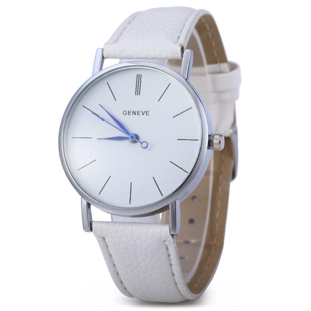 Geneva Women Men Blue Pin Leather Belt Quartz Watch with Contrast Color Decorative Sub-dial - WHITE