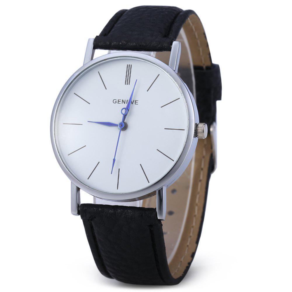 Geneva Women Men Blue Pin Leather Belt Quartz Watch with Contrast Color - BLACK