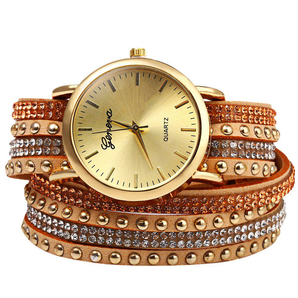 Casual Ladies Long Rivet Leather Strap Watch Quartz Wristwatches for Women - BEIGE
