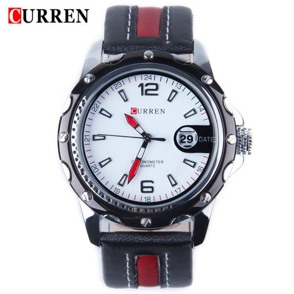 CURREN 8104 Men Quartz Watch Date Leather Band Sports Wristwatch - WHITE/BLACK