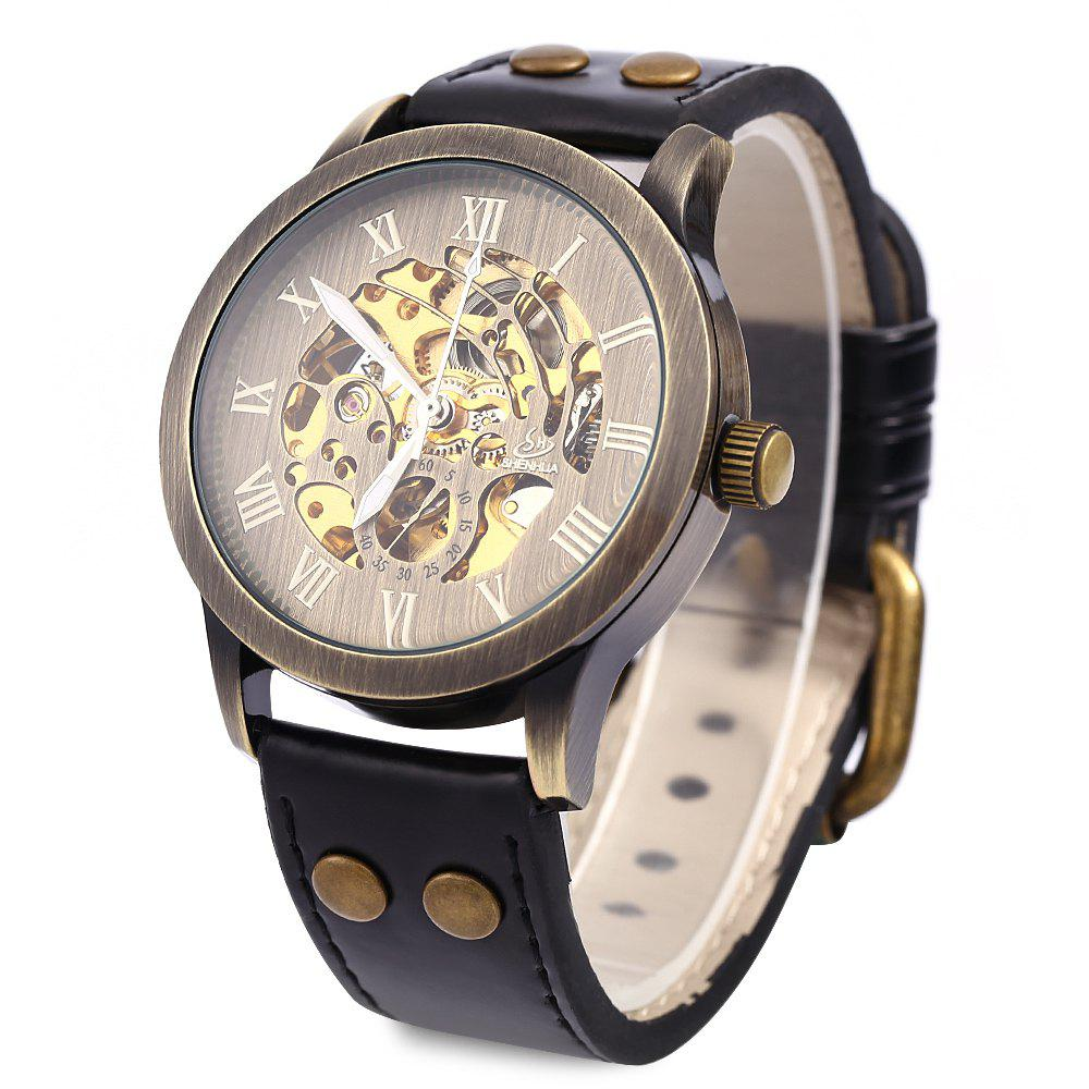 Shenhua 9269 Men Steampunk Bronze Hollow Mechanical Leather Wrist Watch - BLACK