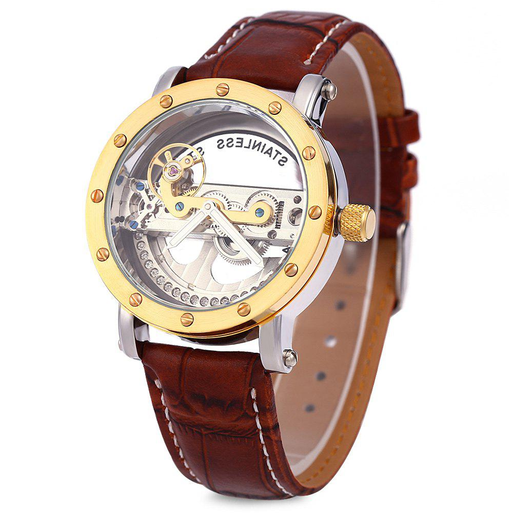 Shenhua 9541 Hollow Automatic Mechanical Watch Men Wristwatch - GOLDEN