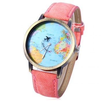 Buy Unisex Watch Quartz Wristwatch World Map Leather Band Women Men PINK