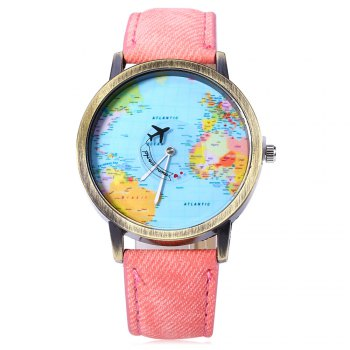 Unisex Watch Quartz Wristwatch World Map Leather Band for Women Men - PINK