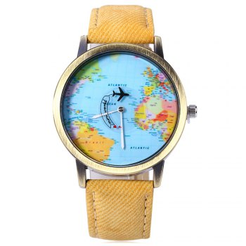 Unisex Watch Quartz Wristwatch World Map Leather Band for Women Men -  YELLOW